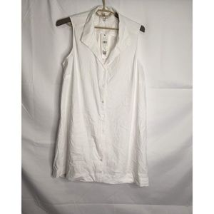 Foxcroft White Button Front Sleeveless Shirt Top